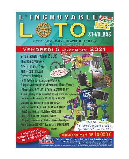 Save the date !  Vendredi 5 novembre, le super loto du Rotary club d'Amberieu en Bugey enfin de retour après une longue absence.