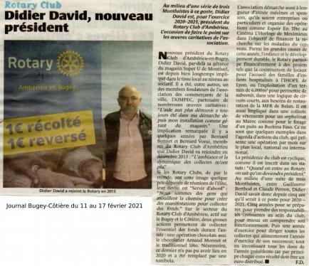 Article du journal Bugey-Côtière